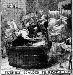 Other domestic hazards are also evident in this illustration: clothes drying by the fireside, the candlestick on the dresser in reach of small children. Illustrated Police News, 30 December 1882.